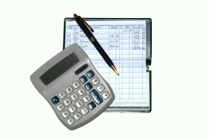 Picture of checkbook and calculator